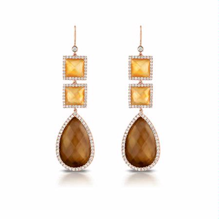 Doves Diamond, Citrine, Smokey Quartz and Mother of Pearl 18k Rose Gold Dangle Earrings
