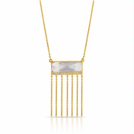 Doves Diamond, White Topaz and Mother of Pearl 18k Yellow Gold Fringe Pendant Necklace