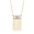 .06ct Doves Diamond, White Topaz and Mother of Pearl 18k Yellow Gold Fringe Pendant Necklace