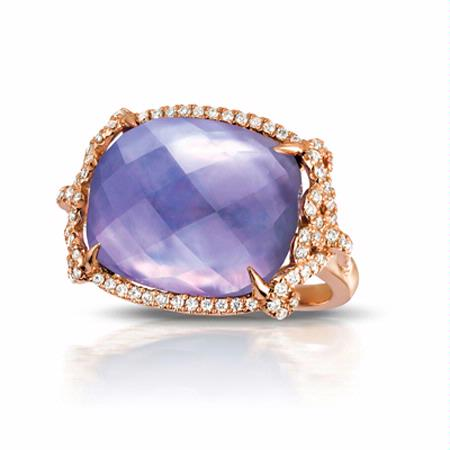 Doves Diamond, Amethyst, Pink Mother of Pearl and Lapis 18k Rose Gold Ring