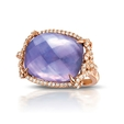 .37ct Doves Diamond, Amethyst, Pink Mother of Pearl and Lapis 18k Rose Gold Ring