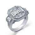6.18ct Simon G Diamond Antique Style 18k White Gold Mosaic Engagement Ring