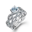 .65ct Simon G Diamond 18k White Gold Engagement Ring Setting and Wedding Band Set