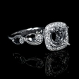 .16ct Simon G Diamond Antique Style 18k White Gold Halo Engagement Ring Setting