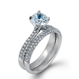 .72ct Simon G Diamond 18k White Gold Engagement Ring Setting and Wedding Band Set