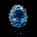 Diamond, Blue Sapphire, Tanzanite and Blue Topaz 18k White Gold Ring