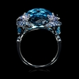 Blue Sapphire, Tanzanite and Blue Topaz 18k White Gold Ring