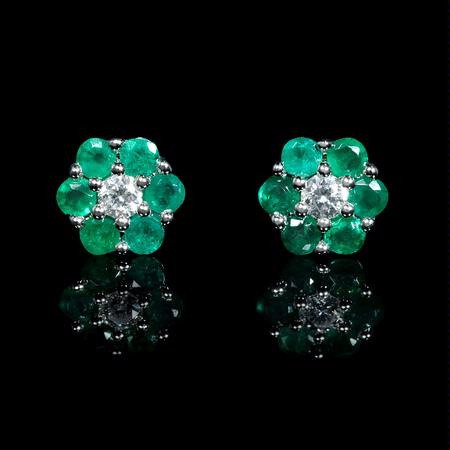 Diamond and Emerald 18k White Gold Cluster Flower Earrings