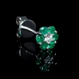 .08ct Diamond and Emerald 18k White Gold Cluster Flower Earrings