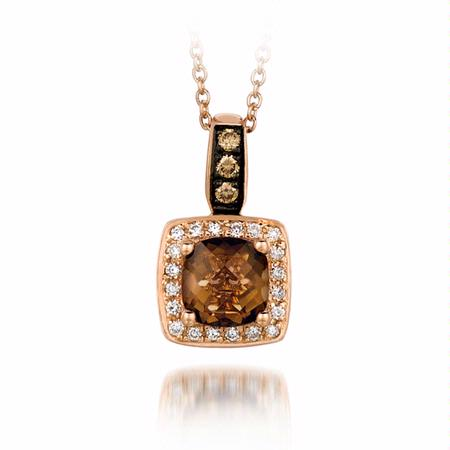 Le Vian Chocolatier Diamond and Chocolate Quartz 14k Strawberry Gold Necklace