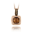 .14ct Le Vian Chocolatier Diamond and Chocolate Quartz 14k Strawberry Gold Necklace