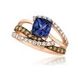 .87ct Le Vian Chocolatier Diamond and Blueberry Tanzanite 14k Strawberry Gold Ring