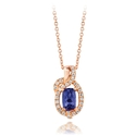 Le Vian Diamond and Blueberry Tanzanite 14k Strawberry Gold Pendant Necklace
