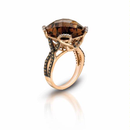 .60ct Le Vian Chocolatier Diamond and Chocolate Quartz 14k Strawberry Gold Ring