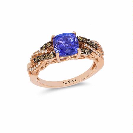 Le Vian Chocolatier Diamond and Blueberry Tanzanite 14k Strawberry Gold Ring