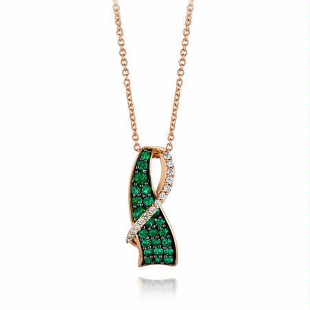 Le Vian Diamond and Costa Smeralda Emerald 14k Strawberry Gold Pendant Necklace