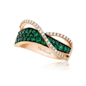 Le Vian Diamond and Costa Smeralda Emerald 14k Strawberry Gold Ring