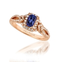 Le Vian Diamond and Blueberry Tanzanite 14k Strawberry Gold Ring