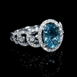.62ct Diamond and Aquamarine 18k White Gold Ring