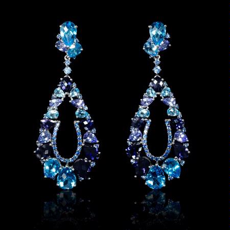 Blue Sapphire, Tanzanite, Blue Topaz and Iolite 18k White Gold Dangle Earrings