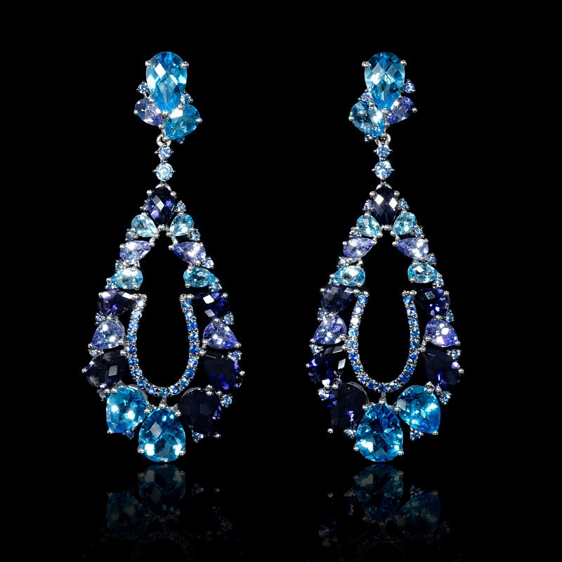Blue Sapphire Tanzanite Blue Topaz And Iolite 18k White