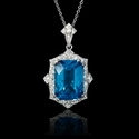 Diamond and Blue Topaz Antique Style 18k White Gold Pendant