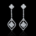 Diamond Antique Style 18k White Gold Dangle Earrings