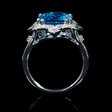 .50ct Diamond and Blue Topaz Antique Style 18k White Gold Ring