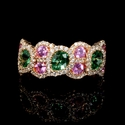 Diamond, Pink Sapphires and Tsavorite 18k Rose Gold Ring