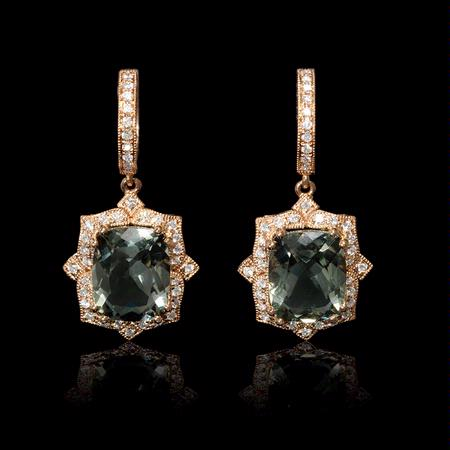 Diamond and Green Amethyst Antique Style 18k Rose Gold Dangle Earrings