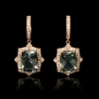 .51ct Diamond and Green Amethyst Antique Style 18k Rose Gold Dangle Earrings