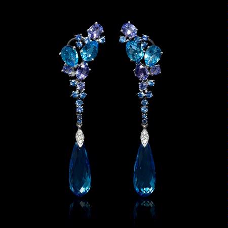 Diamond, Blue Sapphires, Tanzanite and Blue Topaz 18k White Gold Dangle Earrings
