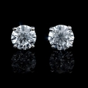 Diamond 3.12 Carats 14k White Gold Stud Earrings