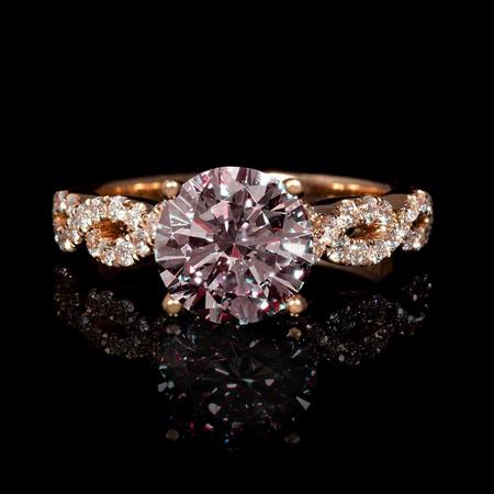 Diamond 18k Rose Gold Engagement Ring Setting