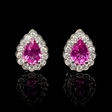 .41ct Diamond and Pink Sapphire 18k White Gold Cluster Earrings