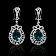 2.04ct Diamond and Chatham Emerald 18k Two Tone Gold Dangle Earrings