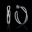 2.40ct Diamond 18k White Gold Hoop Earrings