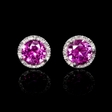 .07ct Diamond and Pink Corundum 14k White Gold Cluster Earrings