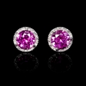 Diamond and Pink Corundum 14k White Gold Cluster Earrings