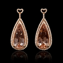 Diamond and Morganite 18k Rose Gold Pear Shape Dangle Earrings