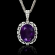 1.66ct Diamond and Purple Amethyst 14k White Gold Pendant