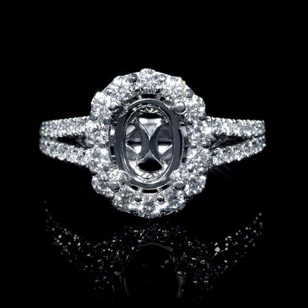 Diamond Antique Style 18k White Gold Split Shank Halo Engagement Ring Setting