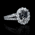 .90ct Diamond Antique Style 18k White Gold Split Shank Halo Engagement Ring Setting