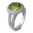 1.14ct Diamond & Peridot 18k White Gold Ring