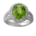 Diamond & Peridot 18k White Gold Ring