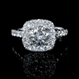 1.09ct Diamond 18k White Gold Halo Engagement Ring Setting