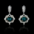 2.01ct Diamond and Chatham Emerald 18k Two Tone Gold Dangle Earrings