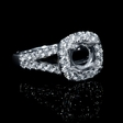 .88ct Diamond 18k White Gold Split Shank Halo Engagement Ring Setting