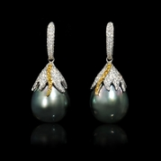 Diamond and South Sea Tahitian Pearl 18k Two Tone Gold Dangle Earrings