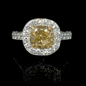 Diamond Antique Style Platinum and 18k Yellow Gold Engagement Ring